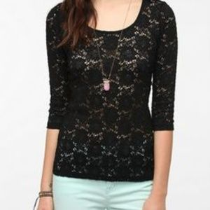 Pins and needles urban outfitters lace black top